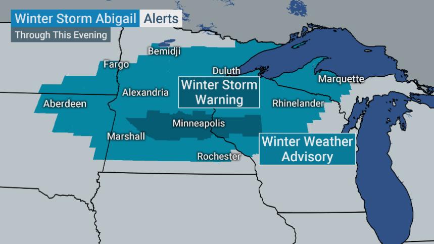 Alertas de tiempo invernal por Abigail